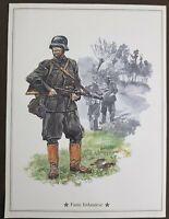 Vintage stampa Militare Fante Finlandese cm 28 x cm 21