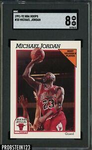 1991-92 NBA Hoops #30 Michael Jordan Chicago Bulls HOF SGC 8 NM-MT