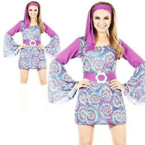 Adults 60s Psychedelic Hippy Ladies Fancy Dress 1960s Retro Womens Hippie Costum