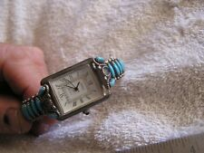 Vintage Sterling Silver Cuff Band Signed SS Arehix Quartz Watch Turquoise