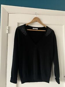 Johnstons 100% Cashmere Black V Neck Jumper With Shoulder Detail Size M
