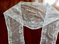 Antique Tulle Lace Bridal / Wedding Collar / Dress Trim Flounce 2.4m Long