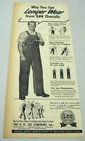 1950 Print Ad Lee Work Clothes Overalls Happy Farmer