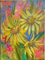 original oil on canvas painting SIGNED still life sunflowers impressionism