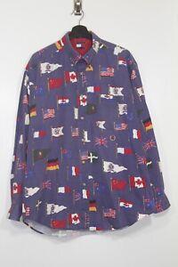 Vintage TOMMY HILFIGER Shirt World Flags long sleeve Mens L international blue