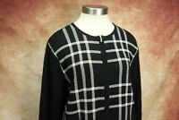 Pendleton Black White Plaid Merino Wool Zip Up Cardigan Sweater Womens Size L