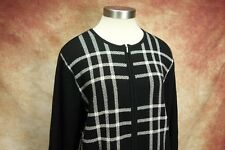 Pendleton Black White Plaid Merino Wool Zip Up Cardigan Sweater Womens Size L
