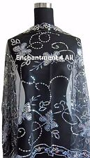 Elegant Oblong Lace Butterfly Art Scarf Wrap w/ Sequin Black/White