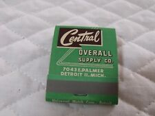 VINTAGE ADVERTISING MATCHBOOKS CENTRAL OVERALL SUPPLY CO. DETROIT, MI UNUSED