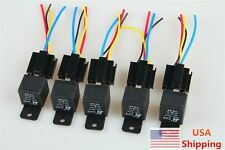 5Pcs 12V 40A 40 A SPST Auto Relay & Socket 4Pin 4P 4 Wire Black for Car