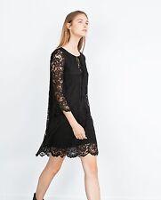 Mini Vestido Zara Negro Boho Style Encaje Corto Mangas Acampanada Ref. 8342/254