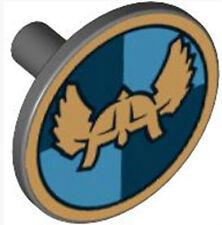 LEGO Castle x1 Round Blue Shield Gold Helm(61825)_Dark Stone _4519649(Lot of 2)