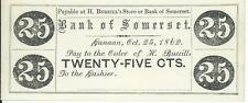 Maine H. Burrill's Store or Bank of Somerset 25 cents Town of Canaan