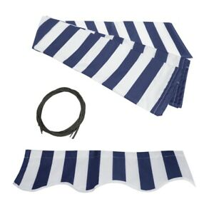 ALEKO Fabric Replacement For 20x10 Ft Retractable Awning Blue and White Color