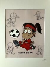 More details for football - red strip - girl - ethnic - hand drawn & hand painted cel