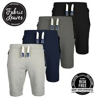 Mens Plain Joggers Sweat Summer Shorts, Zip Pockets Fleece, Gym Jogging Bottoms