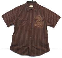 Machine Shirt Short Sleeve Brown Stripes Skull and Crossbones Size L Mens (131)