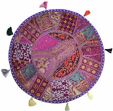 "Purple 22"" Big Round Floor Pillow Cushion Indian Foot Stool Bean Bag tapestry"