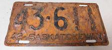 1942 Saskatchewan Canada passenger car license plate