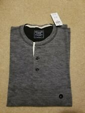 NWT Abercrombie & Fitch Long Sleeve Textured Henley Large Heather Grey