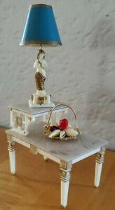 Vintage Ideal Petite Princess Tier Table Set w/Fancy Woman Lamp & Fruit Basket