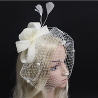 White Ivory Wedding Veils Bridal Accessories Cover Face Feather Birdcage Clip