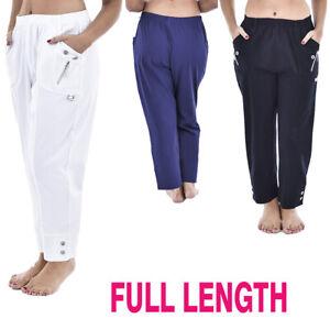 Ladies Womens Elasticated Stretch Waist FULL Length Trousers Pocket Bottom Pants