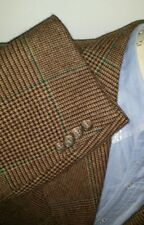 46R 46S POLO by Ralph Lauren CORNELIANI Tweed Plaid Green Tan Sport Coat /Angora