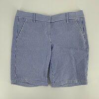 J.Crew Womens Bermuda Seersucker Shorts Size 2 Blue White Stripe Cotton A9