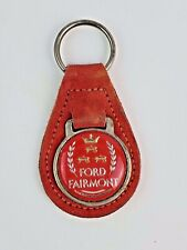 Vintage Ford Fairmont Leather Key chain FOB ring w/ metal back Red