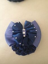 BLUE AND WHITE ENGLISH HORSE SHOW BOW WITH CLEAR RHINESTONES