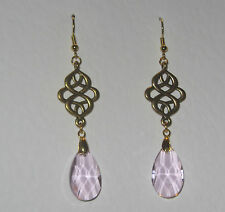 VICTORIAN PERSIAN STYLE PINK FACETED GLASS GOLD PLATED EARRINGS