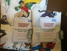 POTTERY BARN KIDS Glow in the Dark Justice League QUEEN Sheets Set & Case NEW