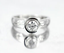 SOLID 925 STERLING SILVER BIG Cz Stone Ring Anniversary Bridal Party Size 6.5