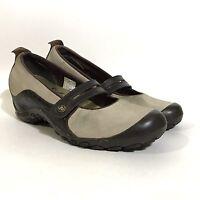 Merrell Mary Jane Plaza Bandeau Dark Taupe Leather Wedge Comfort Size 9
