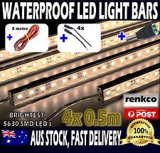 4X12V Waterproof Warm White 5630 Led Strip Lights Bars + 5m Extension Wire, Plug