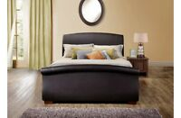 Birlea Barcelona Grey Fabric or Brown Leather Sleigh Bed Frame 4FT6 5FT