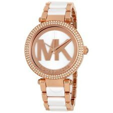 d300de2c5bc4 Michael Kors Parker Rose Gold-Tone Stainless Steel and White Acetate MK6365