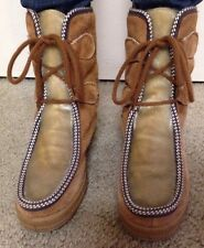 Vintage Ski Lounger Suede and Faux Fur Boots Size 7 Made In Italy