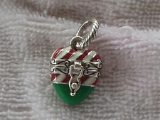 BRIGHTON CANDY CANE HEART CHRISTMAS DANGLE  CHARM NWOT DISCONTINUED/RETIRED