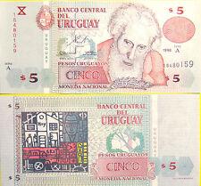 """BILLETE """"   URUGUAY   """"  5  PESOS    AÑO  1998   UNC    PLANCHA"""