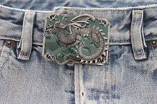 Men Women Belt Buckle Silver Metal Western Fashion Chinese Dragon Green Square