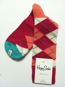 HAPPY SOCKS WOMENS NEW PINK 81%COTTON 17%NYLON DRESS SOCKS SHOE SIZE:5 1/2-9 1/2