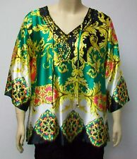 FLORENTINE PRINT TUNIC BY YOEK,THEIR SIZE XL,TURKISH MADE SILKY POLYESTER