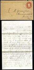 Circa 1850s Cover + Letter Dixon Illinois to Hammondsport Ny