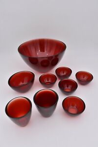 Vintage Collection of Red Orrefors Glass Fuga Bowls by Sven Palmqvist 1960s