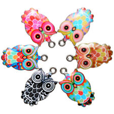 6pc Mixed Owl Enamel Charms For DIY Necklace Jewelry Making Pendants