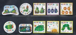 Japan 2018 Very Hungry Caterpillar by Eric Carte Complete Used Set Sc# 4261 a-j