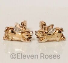 Jan Leslie When Pigs Fly Cufflinks Cuff Links Gold Sterling Silver
