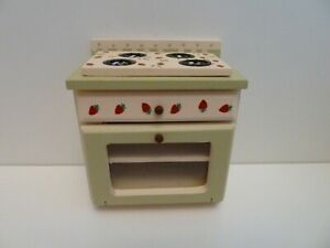 Dolls House Kitchen Miniature 1:12th Scale Strawberry Patterned Stove Cooker